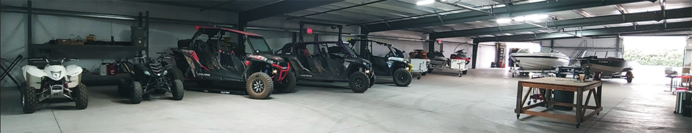 Shop with off-roading and marine vehicles